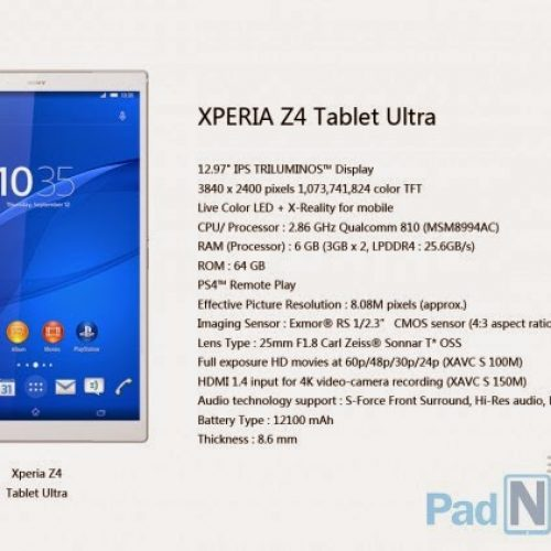 Xperia Z4 Tablet Ultra, the world's highest ever hardware configuration Android device